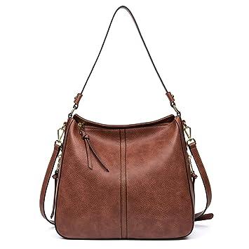 4a2af0ae0cc11 CLUCI Damen Handtaschen Leder Schultertaschen Umhängetasche Große Hobo Taschen  Shopper Bag braun