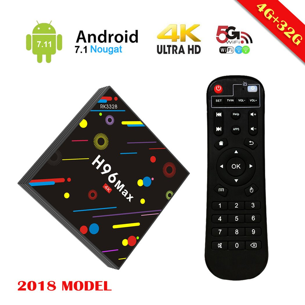 [2018 Upgrated 4G 32G TV Box] EstgoSZ H96 Max TV Box Android 7.1 RK3328 4K Smart TV Box Support 2.4G/5G Dual Wifi/100M LAN/BT 4.0/3D /H265 Gift Box