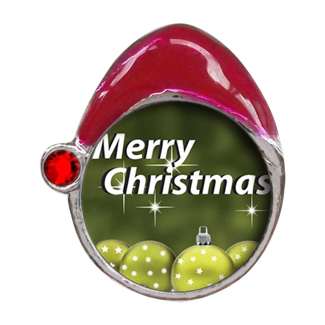 Feliz Navidad olivino bola rojo Siam cristal de enero de piedra natal rojo gorro de Papá Noel Navidad encanto: Amazon.es: Hogar