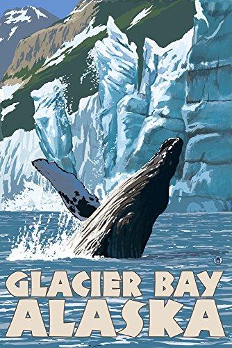 (Glacier Bay, Alaska - Humpback Whale (9x12 Art Print, Wall Decor Travel Poster))