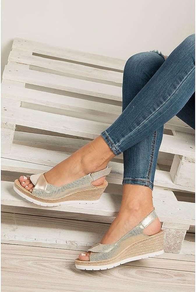 Rieker 61972 90 Damen Sandalen mit Keilabsatz | Sommerschuhe PFA2j