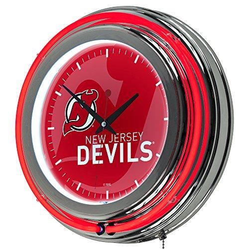 Trademark Gameroom NHL1400-NJD-WM NHL Chrome Double Rung Neon Clock - Watermark - New Jersey Devilsa ()
