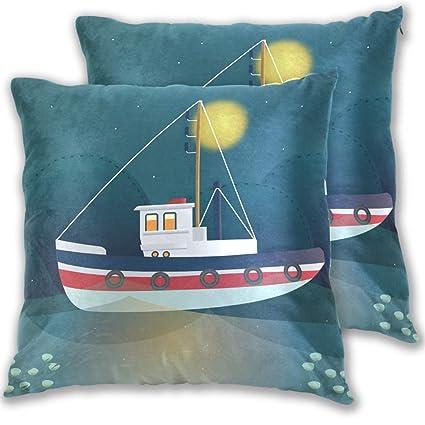 Amazon com: Trawler Design Throw Pillow Cover, Cotton Square