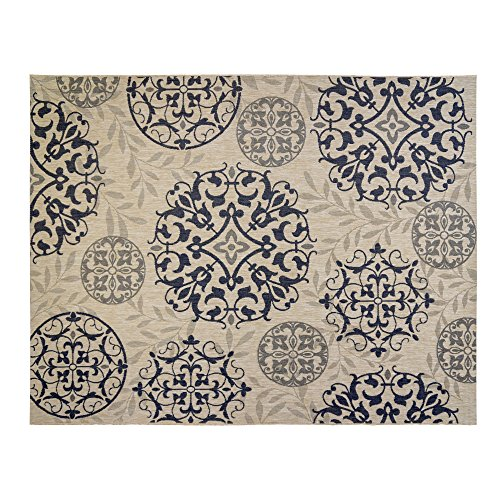 Tan Medallion - Gertmenian 21353 Nautical Tropical Carpet Outdoor Patio Rug, 8x10 Large, Medallion Tan