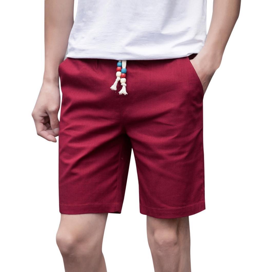 PASATO Men Summer Linen Cotton Solid Beach Casual Elastic Waist Classic Fit Shorts (Red, M)