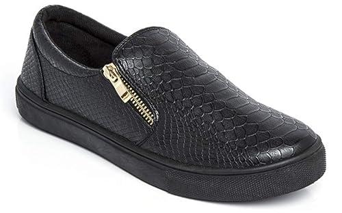 Zapatillas slip-on planas para mujer, imitación de piel, negro (Noir avec fermeture éclair), 40: Amazon.es: Zapatos y complementos