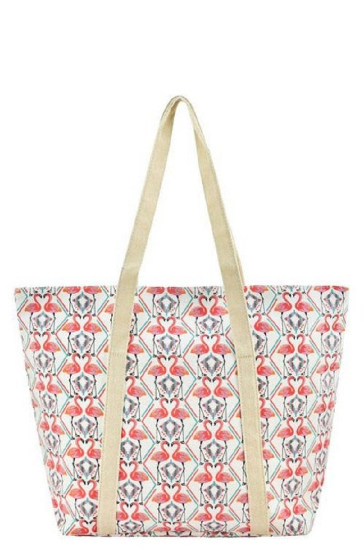 Rope Handle Canvas Summer Spring Print Tote Carryall Purse Bags (Canvas Strap - Flamingo Love)
