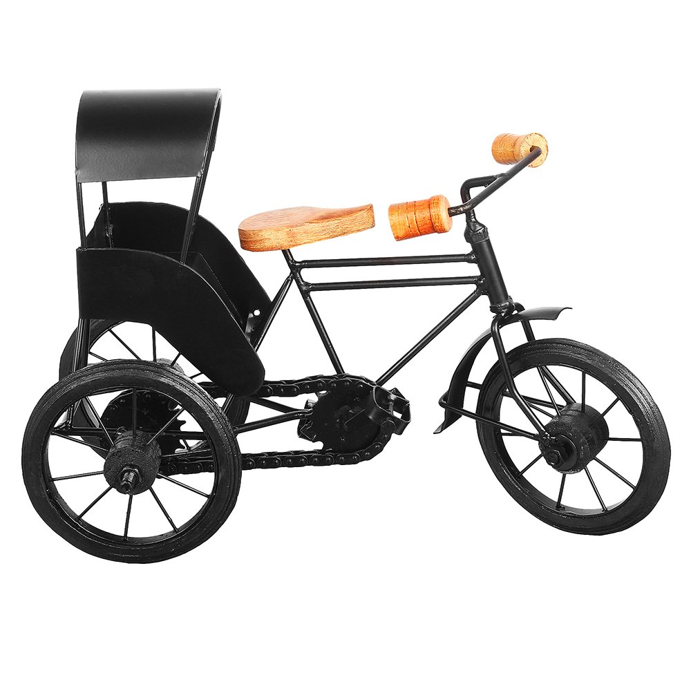 13''x9'' Iron Wooden Rickshaw, Decorative Metal 3 Wheeler Home Office, Artistic Miniature Tricycle Desks, Creative Gift Birthday, Anniversary, Christmas, Thanksgiving by Trumiri (Image #2)