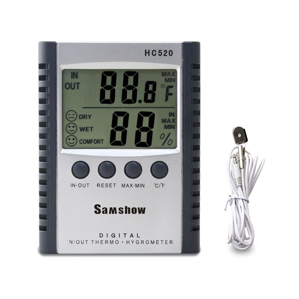 Samshow Hygrometer Thermometer, Digital Humidity Monitor with Temperature Monitor, Indoor/Outdoor Thermometer, Probe, Temperature Gauge Humidity Meter Battery Included