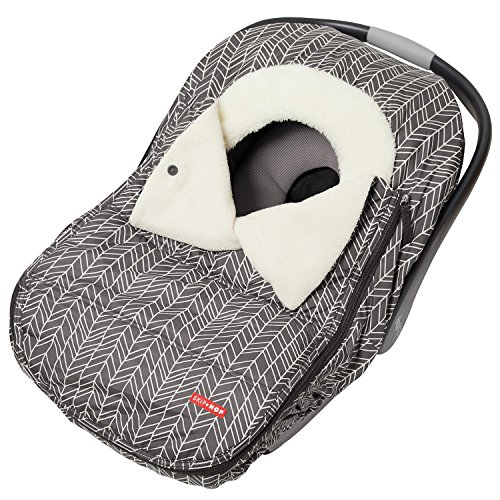 Skip Hop Stroll & Go Plush Fleece Infant And Baby Automotive Winter Car Seat Cover Grey Feather - Universal Fit
