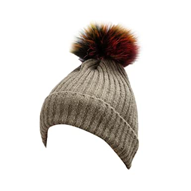 a8ab9d876a2 Webla Women Colourful Fur Fur Pompom Ball Winter Keep Warm Knitted Hat  Stretchy Ski Slouchy Cap (Army Green)  Amazon.co.uk  Clothing