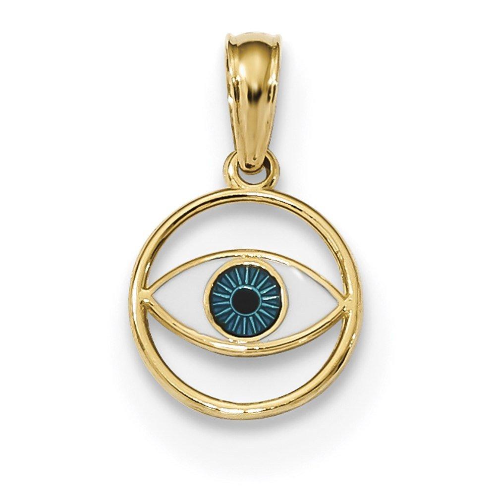 Lex /& Lu 14k Yellow Gold Polished Enameled Eye Pendant