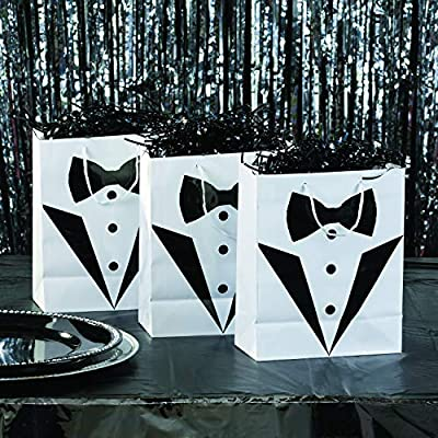 Fun Express Groomsmen Tuxedo Wedding Gift Bags (1 Dozen) Wedding Party Supplies: Health & Personal Care
