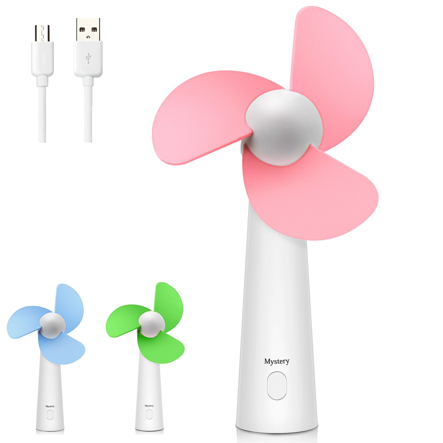 Mystery Mini Handheld Fan Personal Portable Fan USB Rechargeable Cooling Fan Quiet Powerful Desk Table Fan for Home Office Outdoor Travel (Blue)