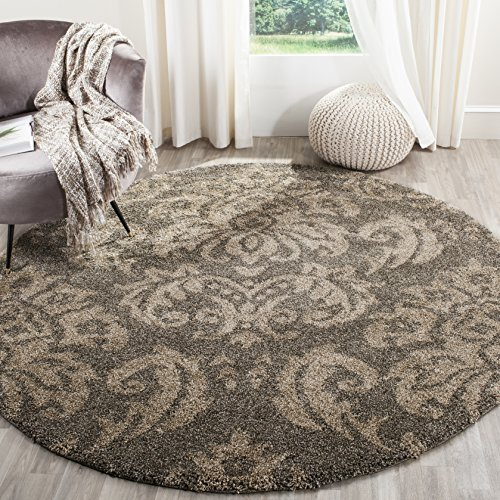 Safavieh Florida Shag Collection SG460-7913 Smoke and Beige Round Area Rug (5' Diameter)