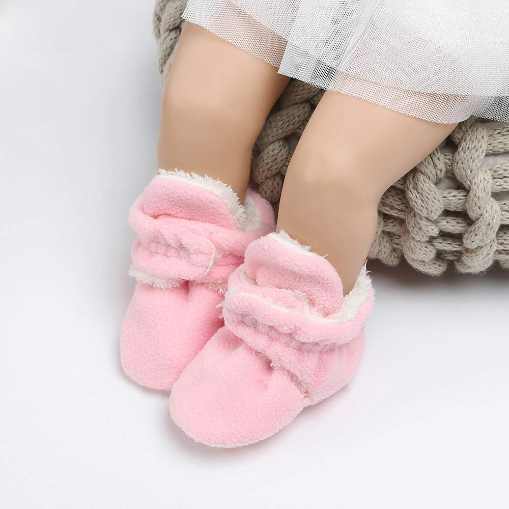 Baby Boys Girls Fleece Booties Cotton Lining Anti-Slip Infant Warm Winter Crib Shoes