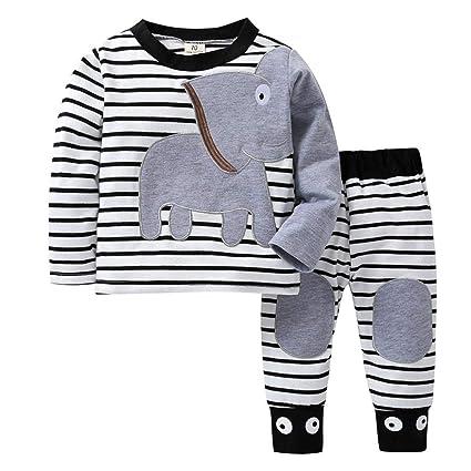 b193c7a4a5 Vestiti Per Neonati Autunno Vestiti Di Neonati Vestiti Abbigliamento Bambini  Abiti Cerimonia Neonato Ragazzi Ragazze Elefante A Strisce Stampa T-Shirt  Cime ...