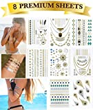 Tapp Collections High Gloss Shimmer Metallic Temporary Tattoos - 8-Sheet Pack