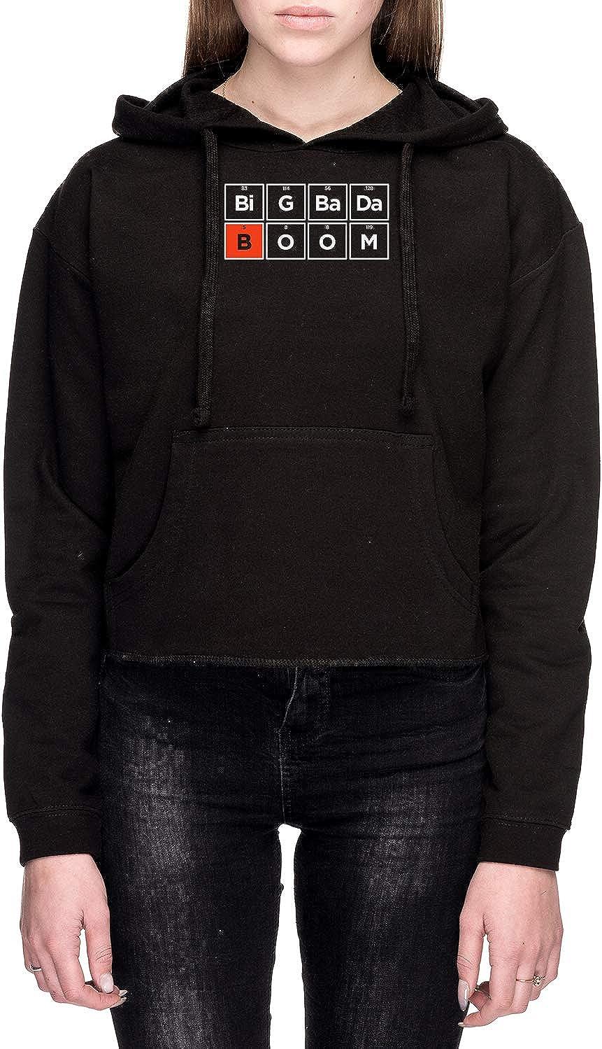 Boron Mujer Sudadera con Capucha De Crop Negro Todos Los Tamaños - Women's Crop Sweatshirt Hoodie Black