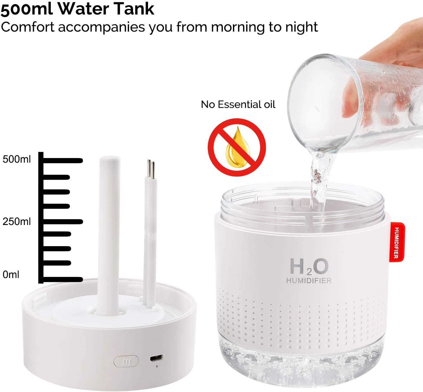 USB Personal Desktop Humidifier for Baby Bedroom Travel Office Home Super Quiet 500ml Small Cool Mist Humidifier with Night Light 2 Mist Modes Auto Shut-Off Portable Mini Humidifier Blue