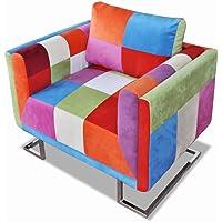 DECMAY Fauteuil Cube avec Design de Patchwork Chrome Tissu