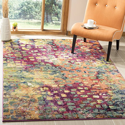 Safavieh Monaco Collection Modern Abstract Watercolor Pink and Multi Area Rug (3' x 5')