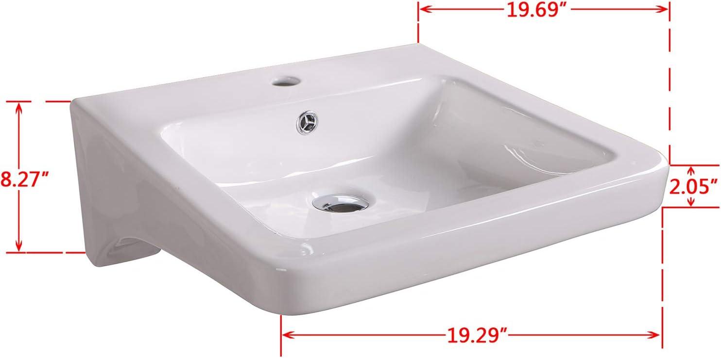 Sliverylake Bathroom Rectangle Porcelain Wall Mount Sink White Ceramic Sink Basin Chrome Drain Combo