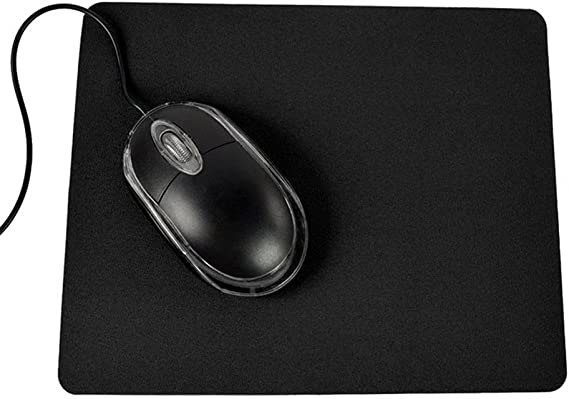 Black GrmeisLemc 21.5 x 17.5cm Gaming PC Laptop Mouse Pad Simple Durable Anti-Slip Solid Color Rectangle Mat with Rubber Base