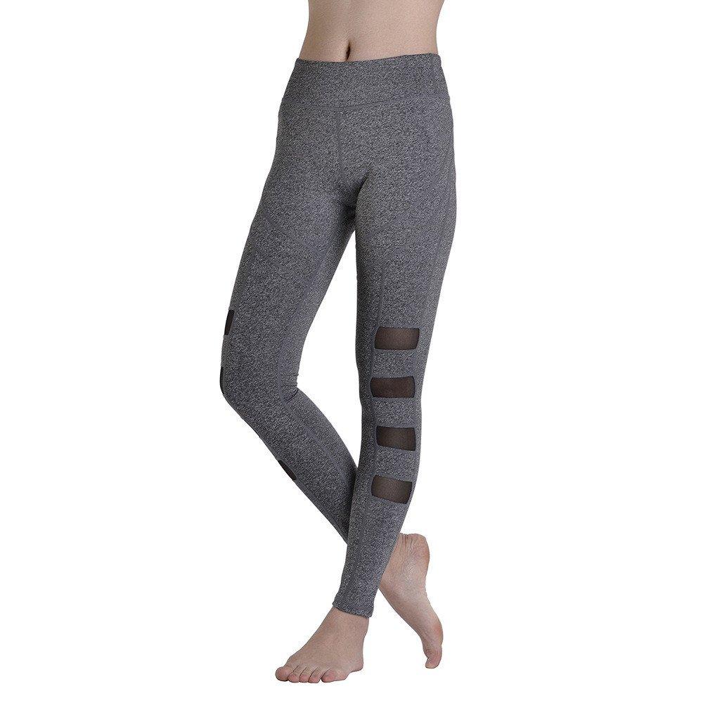 a6e3c487ef Amazon.com : Ybriefbag Yoga Pilates Pants Mesh Yoga Pants Tight-Fitting Women's  Quick-Drying Running Pants High Waist Gray Outdoor Sports Trousers Leggings  ...
