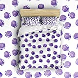 Beauty Decor Bedding 4 Piece bed Set Duvet Cover,Purple Dots 4 Piece Bed Sheet Set 1 Flat Sheet 1 Fitted Sheet and 10 Pillow Cases