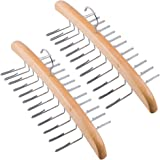 Tosnail 2 Pack Wooden Tie Hanger Rack Organizer - Holds Up to 48 Ties