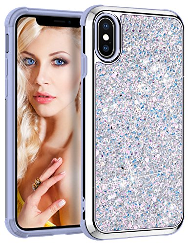 Vofolen Case for iPhone X iPhone Xs Case Bling Glitter Sparkle Shiny Colorful Protective Back Cover Dual Layer Hard Shell Flexible Fit Soft Rubber Bumper Armor for iPhone Xs iPhone X 10 10S (Silver)