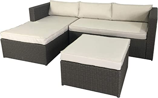 Chillvert. Conjunto Jardín Milano. Sofa Con Chaise Longue Y Reposapies/Puff: Amazon.es: Jardín