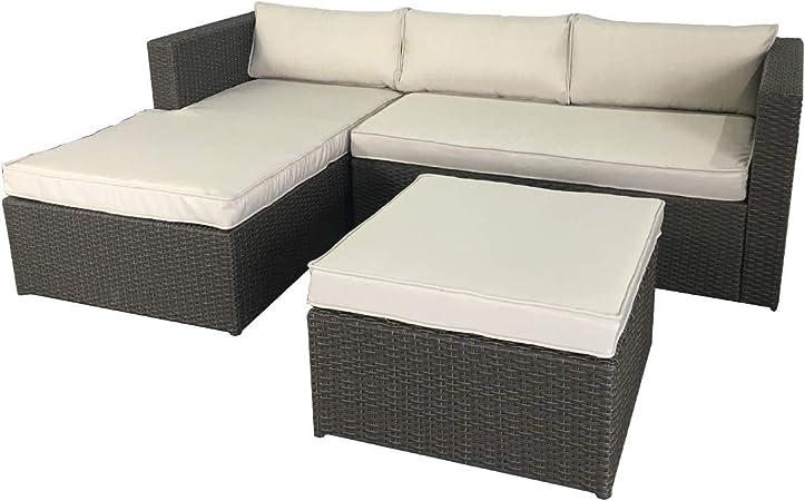 Chillvert. Conjunto Jardín Milano. Sofa Con Chaise Longue Y Reposapies/Puff: Amazon.es: Jardín