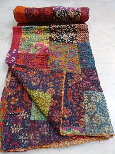 Ikat Sari - Tribal Asian Textiles Twin Size Handmade Ajarak Cotton Block Indigo Print Kantha Quilt Reversible Throw Sari