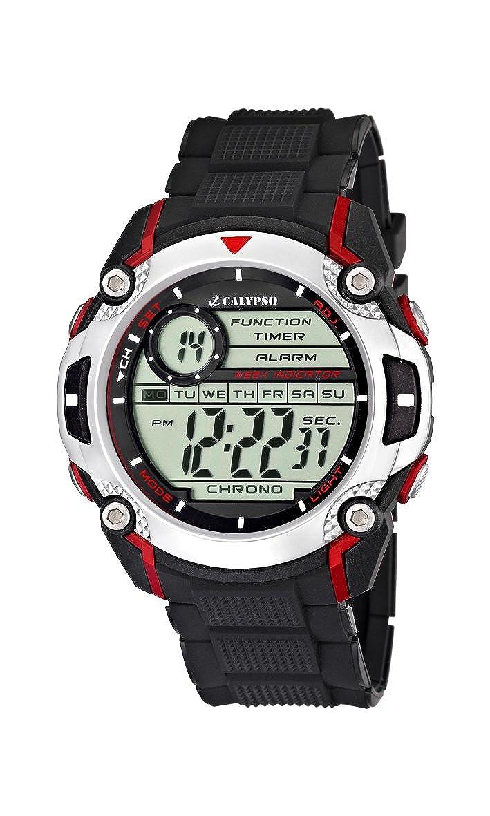 Calypso K5577 - Reloj de pulsera para hombres , digital, cuarzo , correa de caucho, color negro: Amazon.es: Relojes