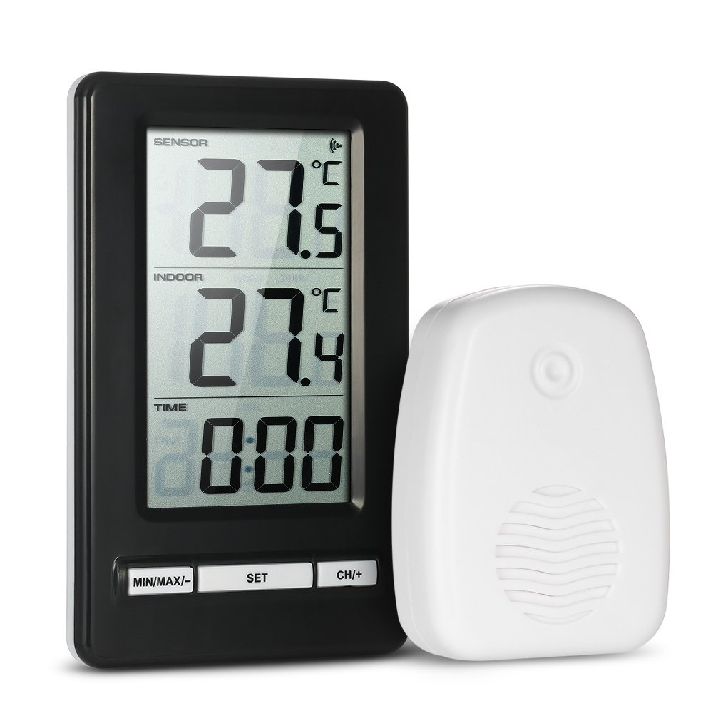 Anself LCD Digital Wireless Indoor Outdoor Thermometer Temperature Measurement Ambient Weather Tester