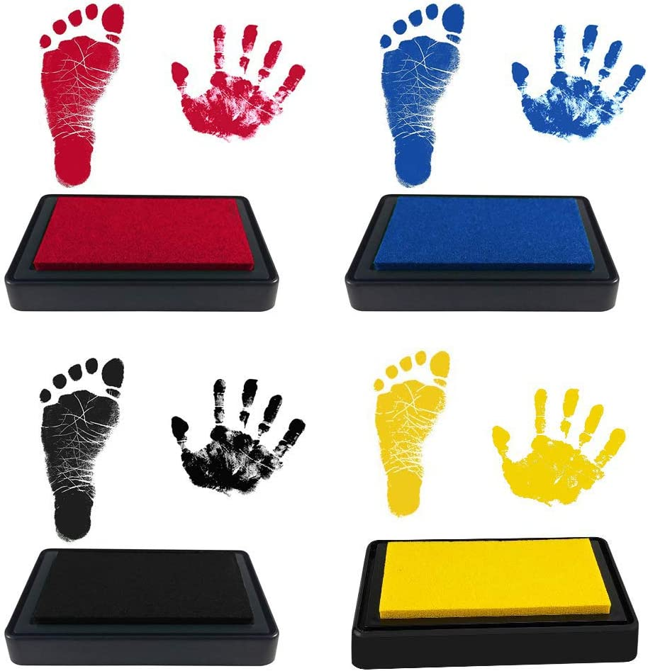 Wenxiaw Baby Handprint and Footprint Kit Pet Paw Print Kit Baby Safe Ink Pad Inkless Hand /& Footprint kit Easy to Clean and Safe Reusable Baby Footprint Kit for Newborn Girls and Boys 4 Colors