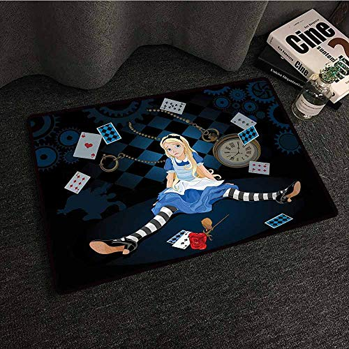 DILITECK Non-Slip Door mat Alice in Wonderland Grown Size Alice Sitting with Flying Cards and Rose Checkered Cartoon Breathability W20 xL31 Multicolor