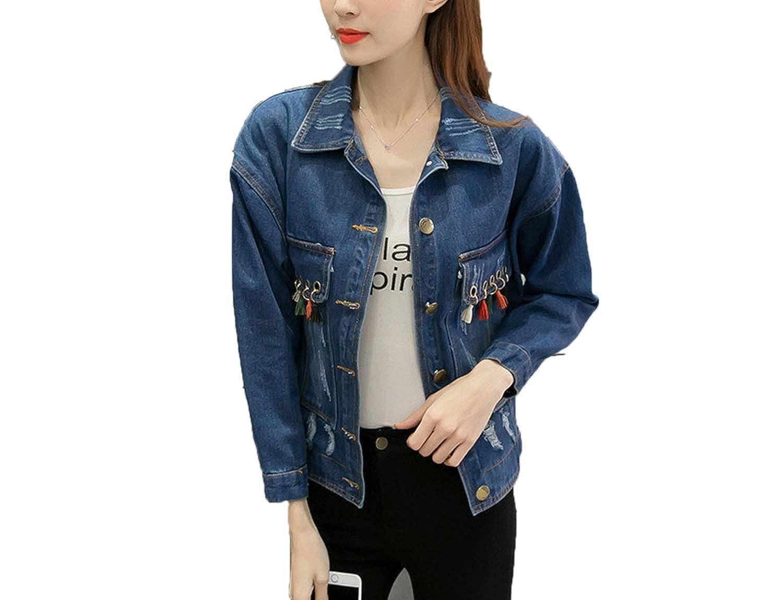 bluee Bestsaly Women Jackets 2019 Summer Spring Fashion Denim Coat Casual Tassel Short Jean Coat Outerwear Long Sleeve Coats x30