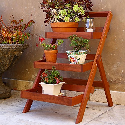Vifah V1512 Outdoor Wood Three-Layer Plant Stand, Teak