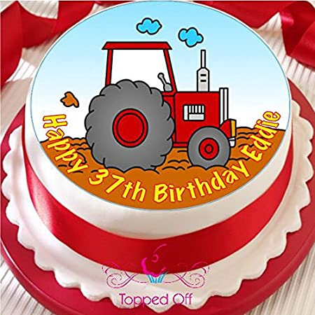 Tractor 75quot Round Fondant Icing Edible Cake Topper And Printed With Your Custom Greeting
