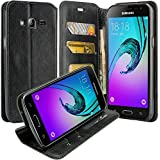 Galaxy J7 Case, Samsung Galaxy J7 Wallet Case, Slim Flip Folio [Kickstand Feature] Pu Leather Wallet Case with ID&Credit Card Slot For Galaxy J7, Black Leather