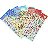 Best Sticker Decals For Holiday Christmas - Christmas Santa Claus Stickers 6 Sheets with Snowman Review