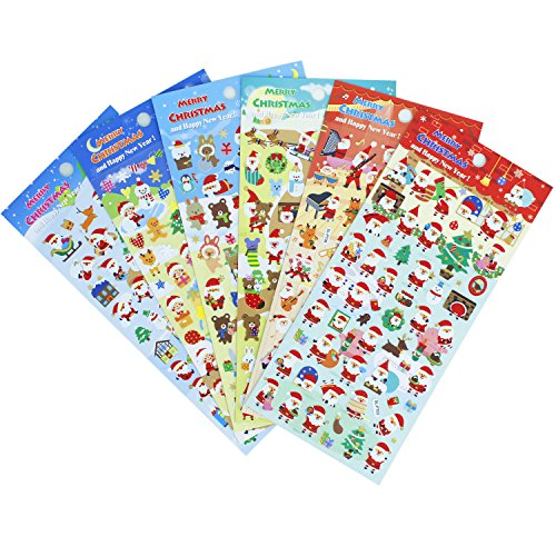 Christmas Santa Claus Stickers 6 Sheets with Snowman and Reindeer Happy Faces Kids Stickers Toys Gifts - 300 - Christmas Stickers