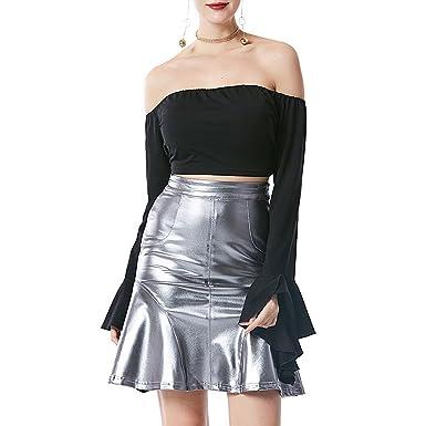 332c80d526 Novias Boutique Women Sexy Metallic Pleated Lotus Leaf Edge High Waist Skirt  Clubwear Party Mermaid Mini Skirt(L) Silver  Amazon.co.uk  Clothing