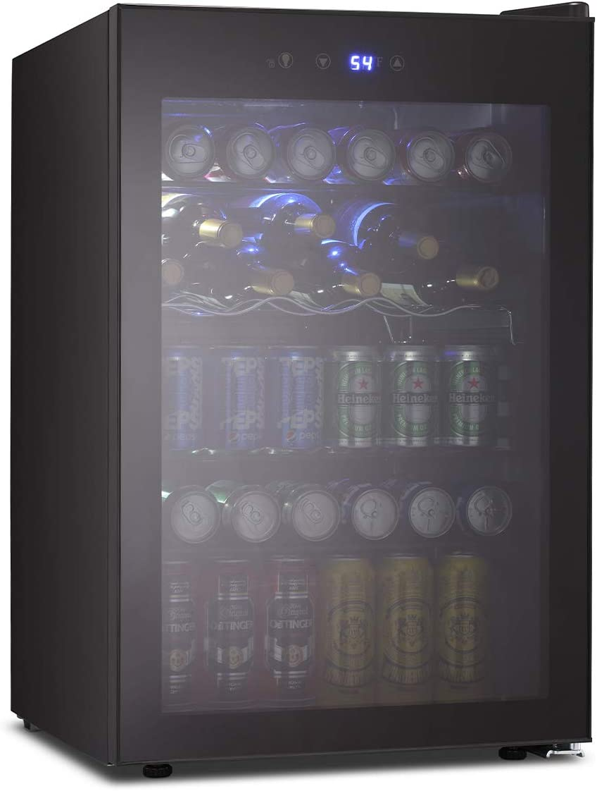 OKADA Beverage Refrigerator or Wine Cooler 120 Can or 36 Bottles with Glass Door for Beer, Soda or Wine Mini Fridge freestanding for Office, Home or Bar Drink Freezer for Party