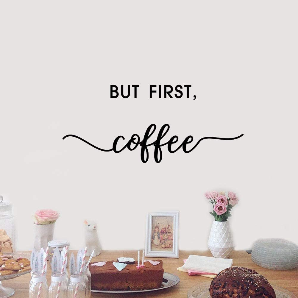 But First Coffee Quote Wall Decal, Inspirational Life Wall Sticker for Coffee Shop Decoration,Kitchen Home Wall Art,Black