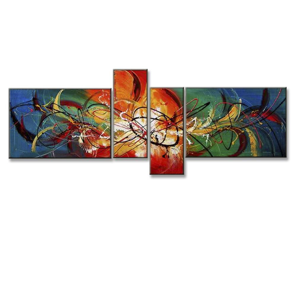 Hand Painted Split Canvas Paintings Unframed 4 Pieces - 64X32 inch (163X81 cm) for Living Room Bedroom Dining Room Wall Decor To DIY Frame Home Decoration - Playful Abstract by Neron Art by Neron Art
