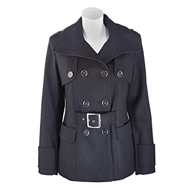 Amazon.com: Womens Wool Blend Double Breasted Belted Pea Coat ...